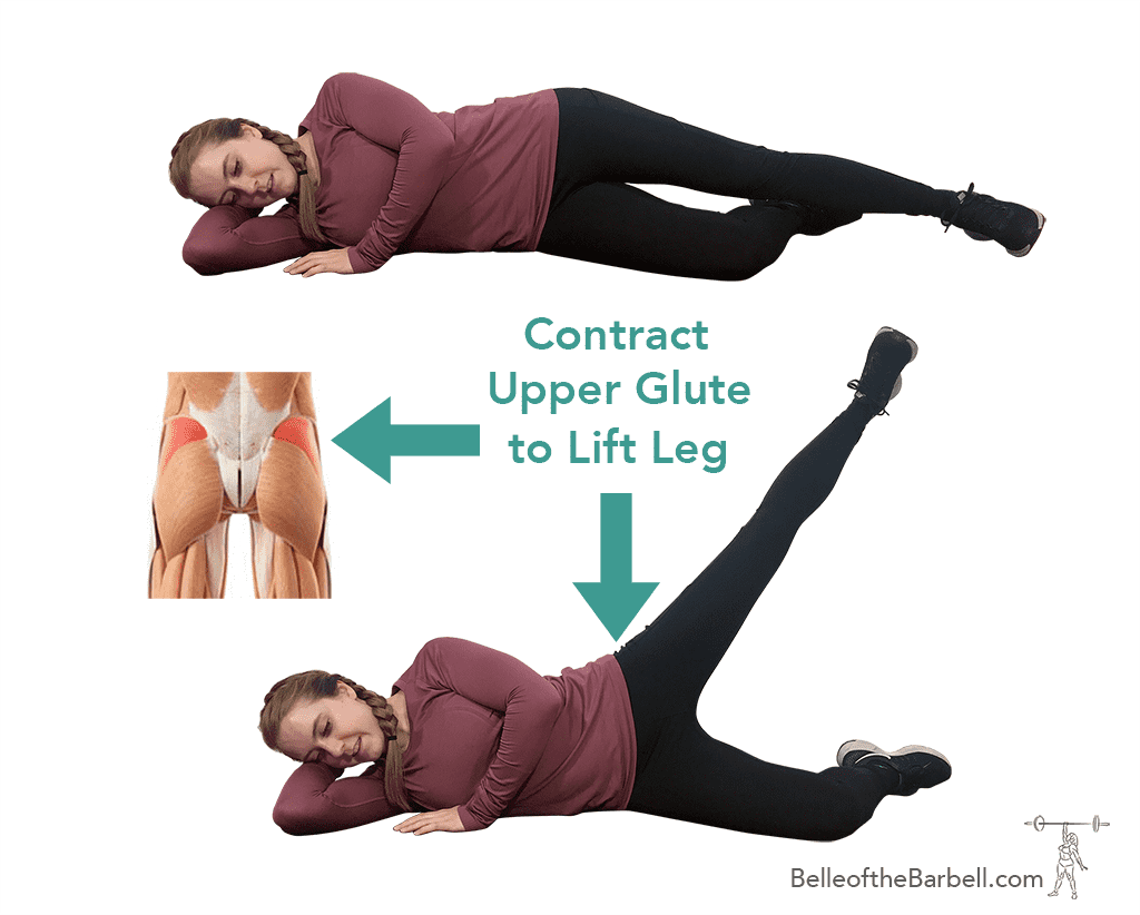 One side leg abduction to help dead or sleepy glute syndrome on Belle of the Barbell