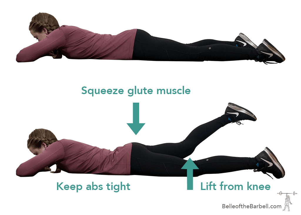 One side prone leg raise to help dead or sleepy glute syndrome on Belle of the Barbell