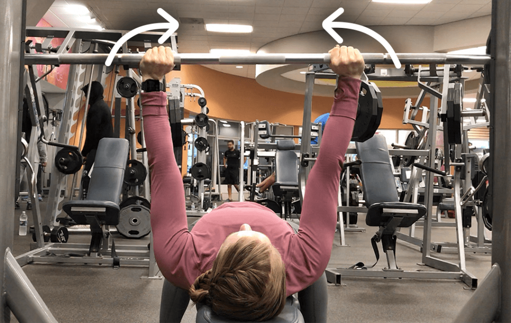 Feminine how to do Bench Press for women High Pull Hands Towards Each Other