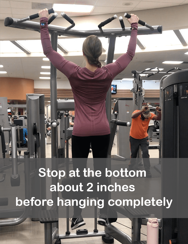 Feminine Pull Up stop at the bottom about 2 inches before hanging completely