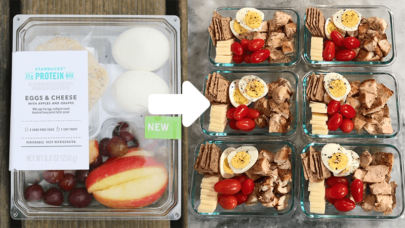 High Protein Starbucks Box Actual to Meal Prep