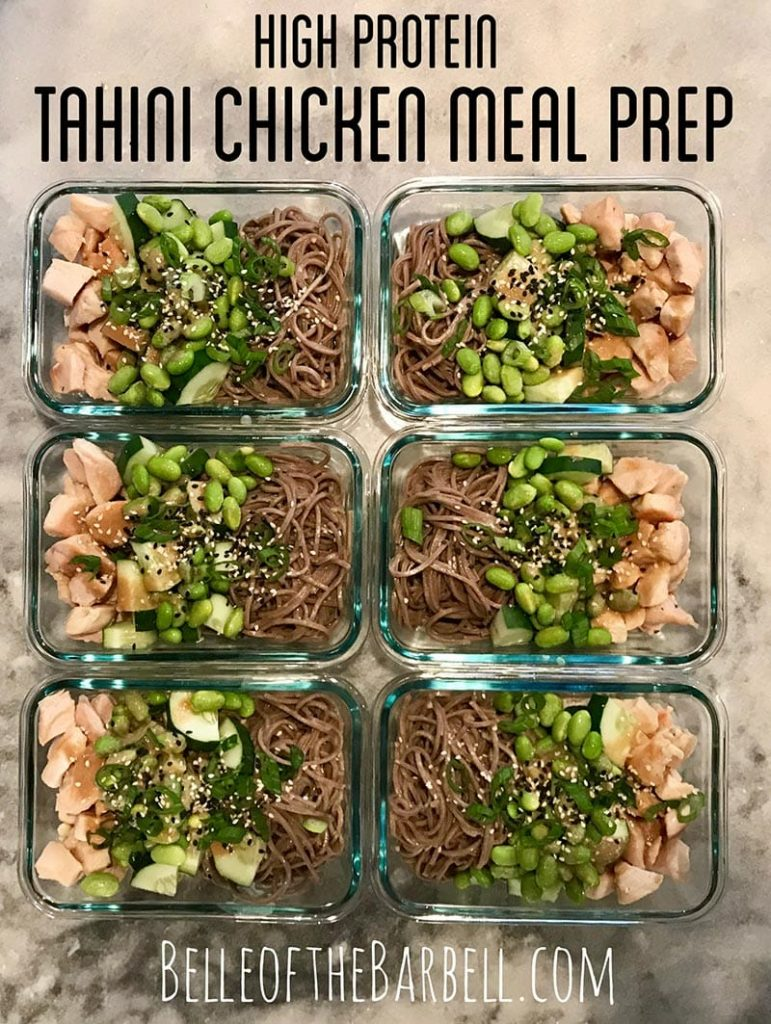 High Protein Tahini Chicken Meal Prep at Belle of the Barbell