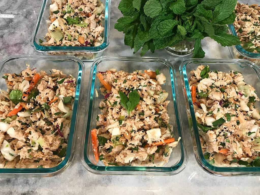 High protein low carb low fat Thai chicken salad snack meal prep