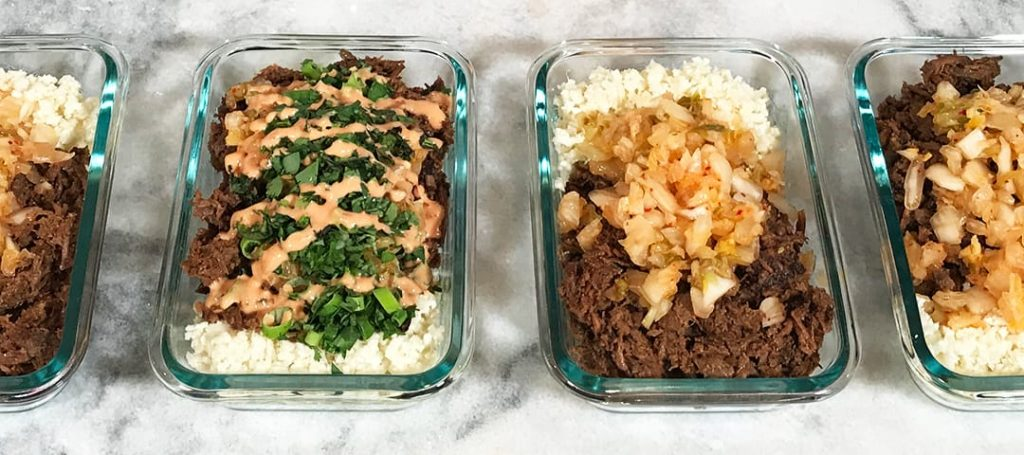 High Protein Low Carb Keto Korean Steak Bowls Meal Prep Zoomed In Line