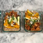 High Protein Pineapple Barbecue Chicken Meal Prep with Coconut Quinoa and Roasted Grilled Veggies in a row Featured