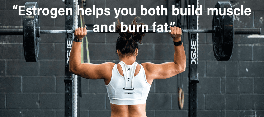 Use Your Period to Make You Stronger - Estrogen helps you both build muscle and burn fat quote on girl lifting barbell weight