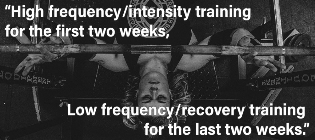 Use Your Period to Make You Stronger - High Frequency first two weeks Low Frequency last two weeks menstrual cycle quote showing girl bench pressing barbell