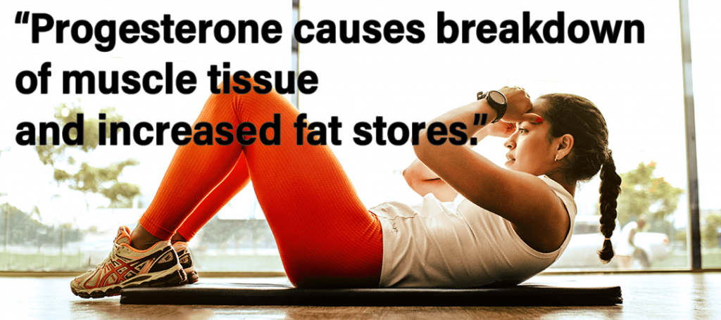 Use Your Period to Make You Stronger - Progesterone causes breakdown of muscle tissue and increased fat stores quote showing girl doing sit ups