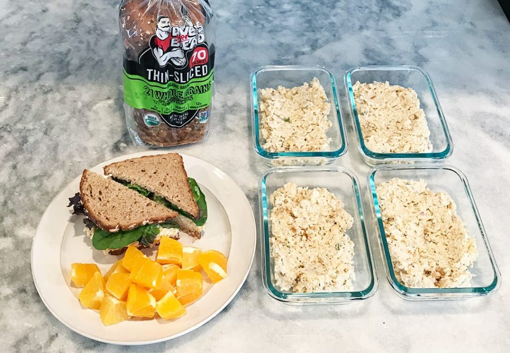 Vegan Protein Chickpea Salad Sandwich Meal Prep