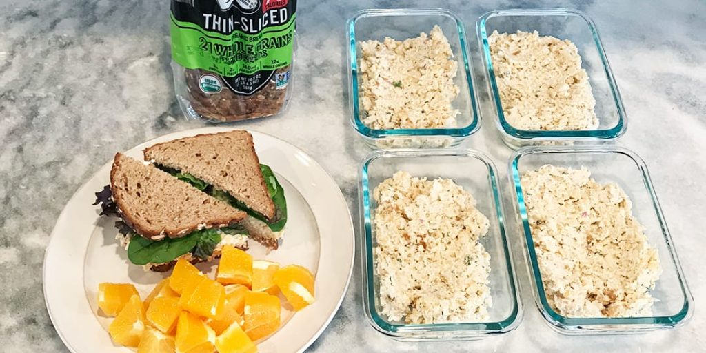 Vegan Protein Chickpea Salad Sandwich Meal Prep Featured