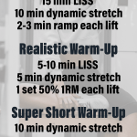 Weight Lifting Warm Up Science Warm Up Ideas