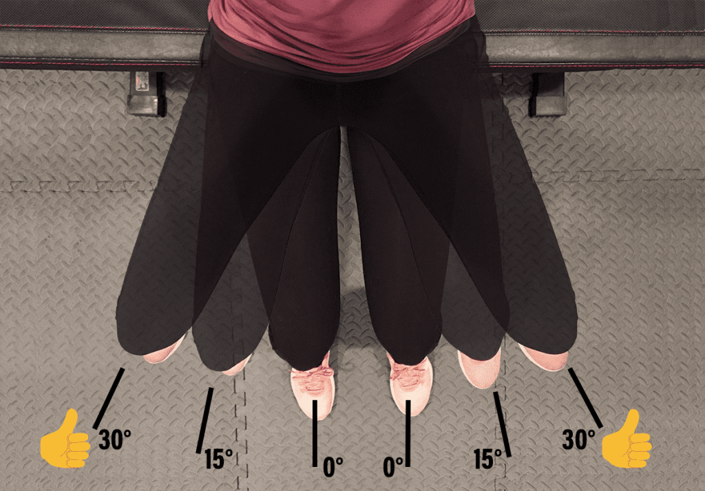 How to actually activate your glutes and maximize work of glutes while weight lifting - according to science - at Belle of the Barbell showing woman abducting legs 0, 15, 30 degrees