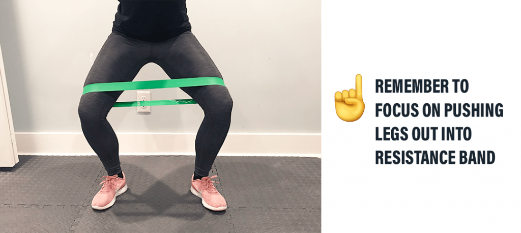 The best solution is using resistance band and focusing on pushing legs out into band