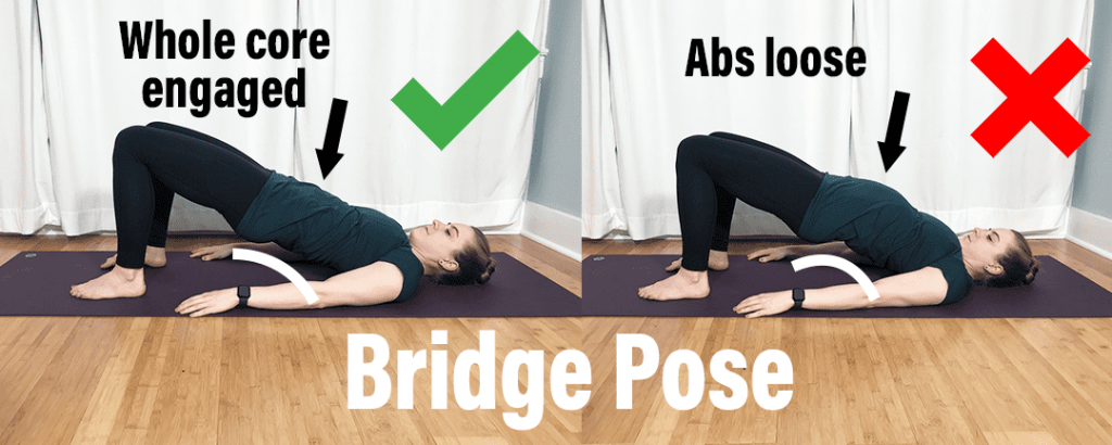 How to fix low back injury - showing proper positioning of Bridge Pose with whole core engaged