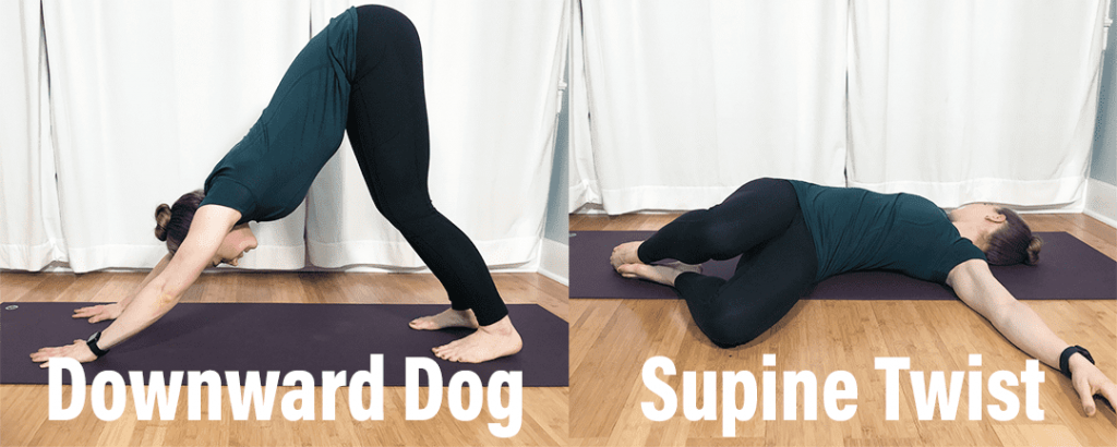 How to fix low back injury Downward dog and supine twist