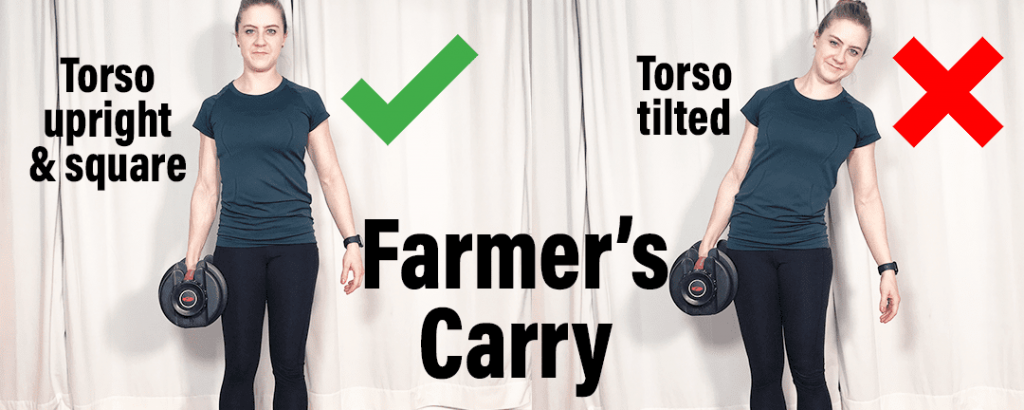 How to fix low back injury Farmer's carry - showing proper positioning with torso upright and square instead of tilted