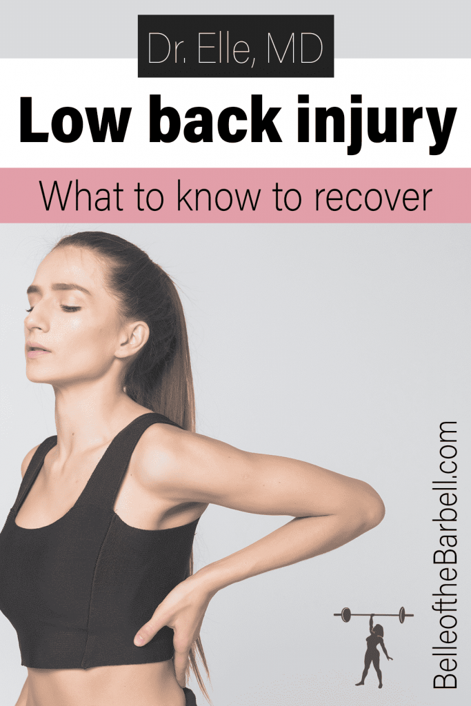 How to fix low back injury Pinterest image showing woman holding lower back
