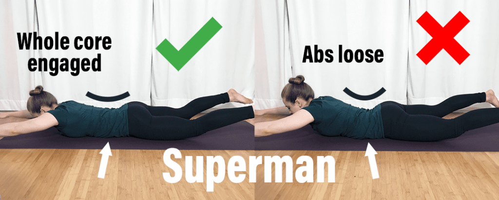 How to fix low back injury Superman - showing proper positioning with whole core engaged instead of abs loose