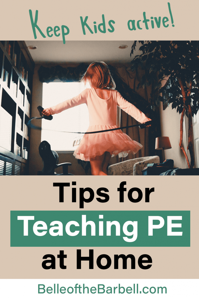 Tips for Teaching PE at Home Pinterest Image Showing girl jumping rope with overlying title